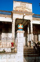 The façade of a building housing the Cuban Masonic lodge Caballero De La Luz. Camaguey, 1990s