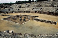 View of the arena of the amphitheatre in Italica, Roman city founded in 205 BC by Scipio Africanus, Andalusia, Spain. Roman civilisation, 2nd century.