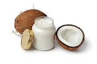 Coconut oil and fresh coconut on white background.