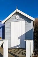 Beach hut on sea coast, Milford on Sea, Hampshire, South England, UK.