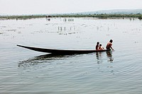 Boats on Inle Lake, Shan states, Burma