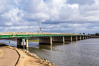Sports Arena Blvd Bridge crossing over the San Diego River. San Diego, California, United States.