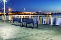 Public benches along San Diego Harbor. San Diego, California, United States.
