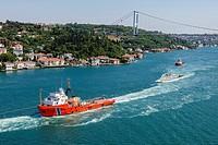 Towboat, Bosphorus, aerial, Istanbul, Turkey