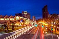 Downtown San Diego at night. San Diego, California, United States.
