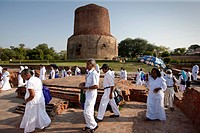 Sri Lankan Buddhist visitors at Dhamakh Stupa at Sarnath ruins near Varanasi, Benares, Northern India