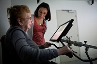 Reportage on the use of virtual reality in cognitive therapy, at the EHPAD retirement home in Laval, France. ?Ride in EHPAD? is a virtual reality app ...