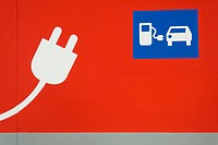 Pictogram, E.ON electric car charging station, Munich, Upper Bavaria, Bavaria, Germany