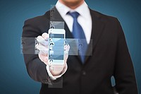 business, internet and technology concept - businessman showing smartphone with news on screen