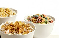 Three bowls of cereal white background