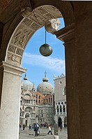 View through the archway of the new Procuratie on Piazza San Marco, Venice, Veneto, Italy.