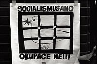 Socialism YES Occupation NO. Manifesto with anti-occupation writing. In 1968 the troops of the Warsaw Pact invade Czechoslovakia and halt Prague Sprin...