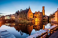 Belfry from the Rozenhoed canal of Bruges reffered as to ´ The Venice of the North ´ pictured at night 05/03/2014.