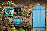Old Cottage Facade in Collioure, Pyrennees-Orientales, France.