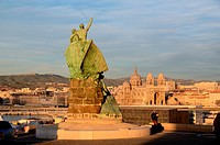 Sailors Monument & View over MUCEM Museum & Cathedral Marseille France.