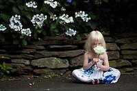 Toddler Holding White Rose