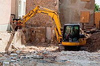 Demolition work. Warnemunde Rostock Germany.