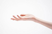 a woman holding her hand palm up