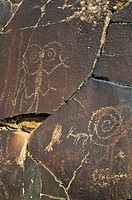 Native American pictograph rock carvings at Petroglyph Lake, Hart Mountain National Antelope Refuge, southeastern Oregon.