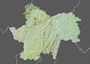 Departement of Saone-et-Loire, France, Relief Map