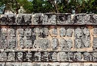 Tzompantli or Platform of the skulls, Chichen Itza, Mexico