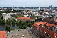 D-Kiel, Kiel Fjord, Baltic Sea, Schleswig-Holstein, panoramic view, ahead city hall square and Ahlmann House, Ahlmann Bank, behind Kleiner Kiel, high-...