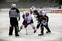 sports, ice hockey, Deutsche Eishockey Liga, 2011/2012, Krefeld Pinguine versus Nuernberg Ice Tigers 1:3, scene of the match, FLTR referee, Yan Stastn...