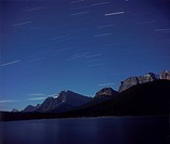 Star trails over Bow Lake, Banff National park, Alberta. Looking south. Taken in full moonlight with Plaubel Makina 6x7 camera with 80mm lena at f/5.6...