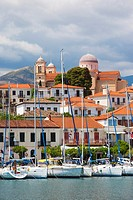 Greece, Central Greece Region, Galaxidi, view of town and harbor.