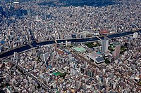 Aerial view of Ryogoku Kokugikan surroundings, Tokyo