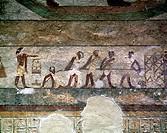 Aegypten, ET-Abydos, Oberaegypten, Tempel Sethos I, Wandmalerei, Fresko, Fresken, Relief, Hieroglyphen, Egypt, ET-Abydos, Sethos I, temple, mural pain...