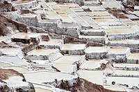 Salt pans on a mountainside, Salinas de Maras salt pans, created by the Incas and still in operation, Pichingote, Cusco region, Andes, Peru