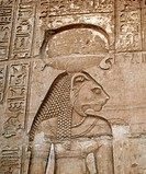 Carving of the ancient Egyptian warrior goddess Sekhmet. This carving is on the wall of the Temple of Kom Ombo, which dates from the Ptolemaic period ...