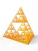 Fractal pyramid made from a Sierpinski triangle (or gasket), developed by the Polish mathematician Waclaw Sierpinski (1882-1969). This is an example o...