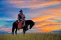 Cowboy on horseback against vibrant dawn sky.
