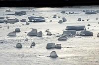 Ice Blocks on an Artificial Lake in Botanica Public Park in Bad Schallerbach. Austria.