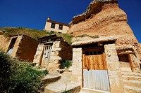 Sandstone Houses in San Esteban de Gormaz, Soria, Spain.