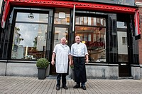 Willem II Straat, Tilburg, Netherlands. Father and son LeJeune are third 3rd and fourth 4th generation butchers at their butchery, established in 1902...