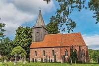 The village church Gross Zicker was built around the year 1400 in the Gothic style, Gross Zicker, Moenchgut peninsula, Ruegen Island, County Vorpommer...