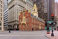 The Old State House historic building in Boston, at the intersection of Washington and State Streets. Built in 1713, it was the seat of the Massachuse...