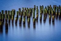 Tranquil waters with pilings at the Hudson River during the blue hour at sunset.
