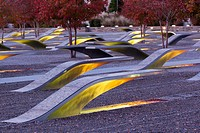USA, Virginia, Arlington The Pentagon, Pentagon 911 Memorial, dawn.