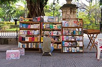 A book stall in Plaza de Armas, Havana, Cuba, selling literature related to the Cuban Revolution.
