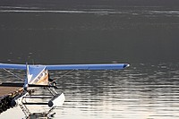 DeHavilland Beaver floatplane tied up at dock, Seal Cove, Prince Rupert, BC.