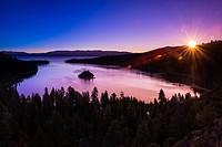 Dawn light over Emerald Bay on Lake Tahoe, Emerald Bay State Park, California USA.