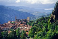 Village of Vernet les bains in Cady valley, Eastern Pyrenees, Languedoc-Roussillon, France