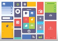 a smart phone surrounded by different icons and template styles