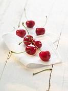 Cherries on a cloth