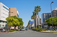 Palms, wide boulevard and tall office and hotel buildings on Taihaku-dori Avenue, Hakata Ward, Fukuoka City, Fukuoka Prefecture, Japan.