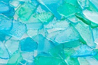 Close up of blue glass pebble, Studio shot